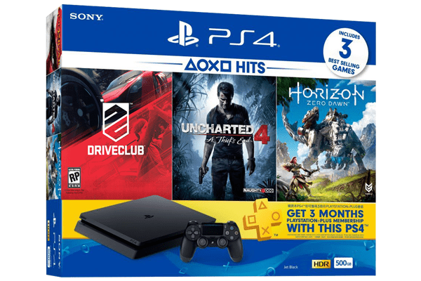 PS4 Slim 500GB Bundle With Driveclub Horizon Zero Dawn Uncharted 4 And Three Months PlayStation Plus Membership Jet Black Best Price In BD