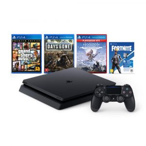 "PlayStation 4 (Jet Black) with 1TB HDD x 1 (CUH-2218BB01) DUALSHOCK 4 wireless controller (Jet Black) x 1 PS4 title ""God of War™"" (Traditional Chinese / English Ver.) Disc version x 1 PS4 title ""Horizon Zero Dawn™: Complete Edition"" (Traditional Chinese / English Ver.) Disc version x 1 PS4 title ""Grand Theft Auto V Premium Edition"" (English / Chinese Ver.) Disc version x 1 PS4 title ""FORTNITE NEO VERSA BUNDLE"" (English / Chinese Ver.) Digital version x 1 PlayStation Plus 3-month subscription x 1"