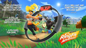 Explore a fantastical adventure world to defeat a bodybuilding dragon and his minions using real-life exercises! Traverse grass-swept plains by jogging in place, attack enemies with overhead shoulder presses, and refill your health meter by striking some yoga poses. Two new accessories, Ring -Con and Leg Strap, measure your real-world actions and help turn them into in-game movements. With additional minigames, Ring Fit Adventure is great escape for players of all skill levels and schedules. In Adventure mode, defeat enemies with attacks based on real-world exercises! As you work through each level (and possibly work up a sweat), you'll earn experience points. Between fights, you may encounter some unusual methods of transportation such as squat-powered launch pads, and more! Want to compete with others? Pass around the Ring-Con accessory and select from a few minigames: break boxes with gusts of air, craft pottery using squats and many others. Learn about all the great new features, including a new voice option and a fun new Rhythm Game mode that are included in the latest free update. Nintendo Switch, Ring Fit Adventure, Black An adventure game that's also a workout! Level-up your character and yourself! Explore a huge fantasy world and defeat enemies using real-life exercise Jog, Sprint, and high knee through dozens of levels Control in-game movements with the new Ring-Con and Leg Strap accessories Play a long-form adventure or shorter minigames suitable for most skill levels and schedules Check your estimated pulse rate with the built-in IR Motion Sensor Learn about all the great new features, including a new voice option and a fun new Rhythm Game mode that are included in the latest free update