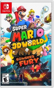 Super Mario 3D World + Bowser's Fury - Nintendo Switch Enjoy two Mario adventures solo or with friends* In Super Mario 3D World, choose a character—each with distinct playstyles—as you dash and climb through dozens of colorful courses, collecting Green Stars and power-ups along the way Super Mario 3D World can be played locally* on the same system, via local wireless, or online** with up to three other players for cooperation…and some friendly competition In addition to added multiplayer options, the Nintendo Switch version of the Super Mario 3D World game has been improved with faster character speeds and more Explore a seamless feline world in Lake Lapcat, complete objectives to collect Cat Shines, and defeat a giant Bowser in the new Bowser's Fury adventure